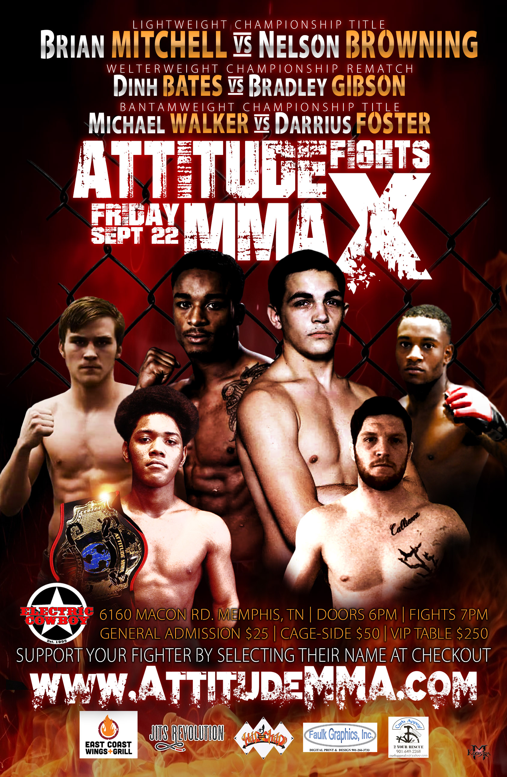 Attitude MMA Fights X at Electric Cowboy Memphis 9/22/17