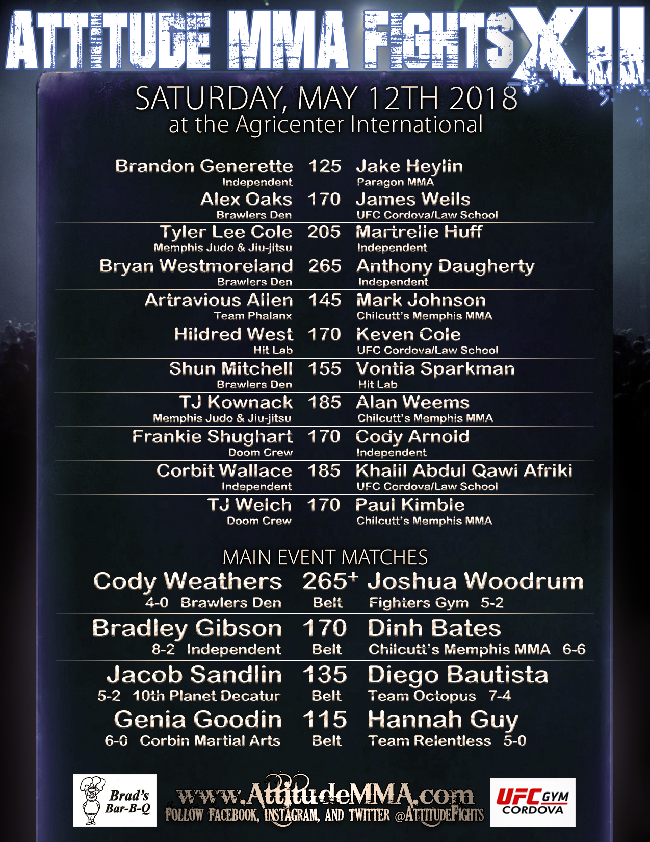 Official fight card for Attitude MMA Fights XII