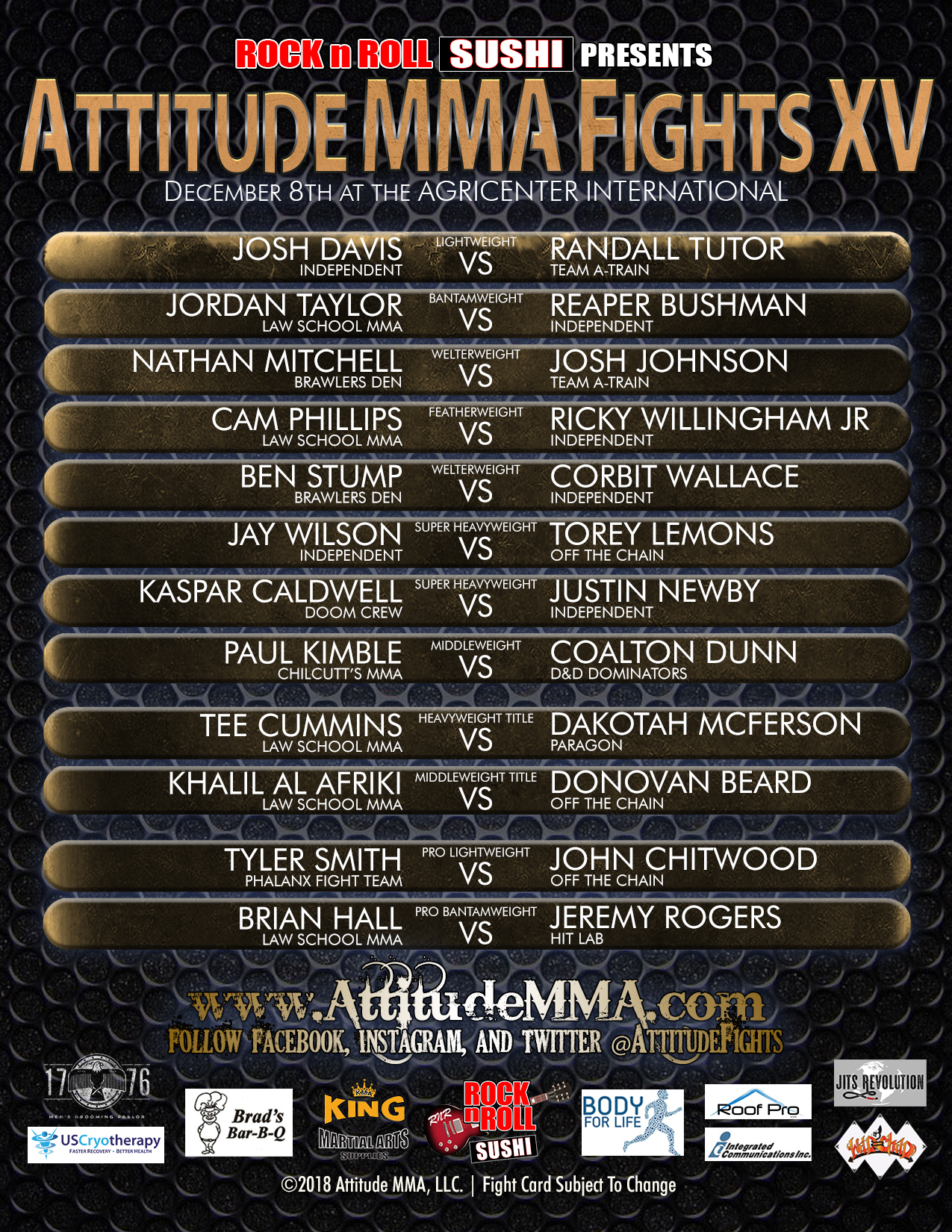 Official Fight Card to Attitude MMA Fights XV